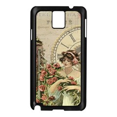 French Vintage Girl Roses Clock Samsung Galaxy Note 3 N9005 Case (black) by Celenk