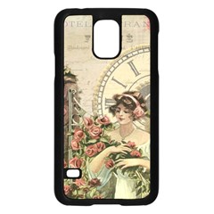 French Vintage Girl Roses Clock Samsung Galaxy S5 Case (black) by Celenk