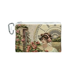 French Vintage Girl Roses Clock Canvas Cosmetic Bag (s) by Celenk
