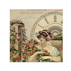 French Vintage Girl Roses Clock Small Satin Scarf (square) by Celenk