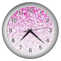 Halftone Dot Background Pattern Wall Clocks (silver)  by Celenk