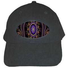 Fractal Vintage Colorful Decorative Black Cap by Celenk