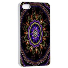 Fractal Vintage Colorful Decorative Apple Iphone 4/4s Seamless Case (white) by Celenk