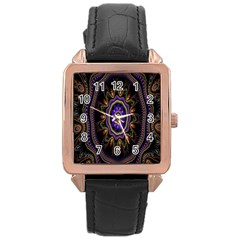 Fractal Vintage Colorful Decorative Rose Gold Leather Watch  by Celenk