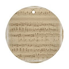 Vintage Beige Music Notes Ornament (round) by Celenk
