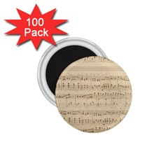 Vintage Beige Music Notes 1 75  Magnets (100 Pack)  by Celenk