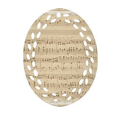 Vintage Beige Music Notes Oval Filigree Ornament (two Sides) by Celenk