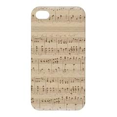 Vintage Beige Music Notes Apple Iphone 4/4s Hardshell Case by Celenk