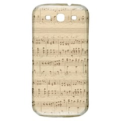 Vintage Beige Music Notes Samsung Galaxy S3 S Iii Classic Hardshell Back Case by Celenk