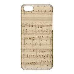 Vintage Beige Music Notes Apple Iphone 5c Hardshell Case by Celenk