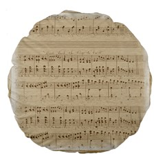 Vintage Beige Music Notes Large 18  Premium Flano Round Cushions by Celenk