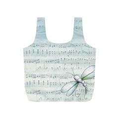 Vintage Blue Music Notes Full Print Recycle Bags (s)  by Celenk