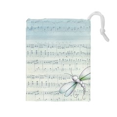 Vintage Blue Music Notes Drawstring Pouches (large)  by Celenk