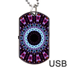 Kaleidoscope Shape Abstract Design Dog Tag Usb Flash (two Sides) by Celenk