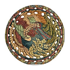Wings Feathers Cubism Mosaic Ornament (round Filigree) by Celenk