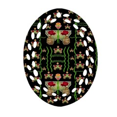 Roses In The Soft Hands Makes A Smile Pop Art Ornament (oval Filigree) by pepitasart