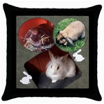 Bunny Pillow - Throw Pillow Case (Black)