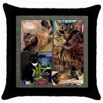 Cat Pillow - Throw Pillow Case (Black)