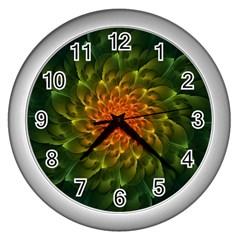 Beautiful Orange Green Desert Cactus Fractalspiral Wall Clocks (silver)  by beautifulfractals
