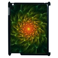 Beautiful Orange Green Desert Cactus Fractalspiral Apple Ipad 2 Case (black) by jayaprime