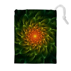 Beautiful Orange Green Desert Cactus Fractalspiral Drawstring Pouches (extra Large) by beautifulfractals