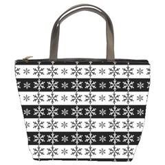 Snowflakes   Christmas Pattern Bucket Bags by Valentinaart