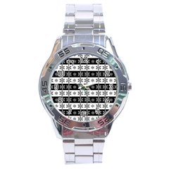 Snowflakes   Christmas Pattern Stainless Steel Analogue Watch by Valentinaart