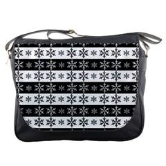 Snowflakes   Christmas Pattern Messenger Bags by Valentinaart