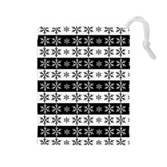 Snowflakes   Christmas Pattern Drawstring Pouches (large)  by Valentinaart