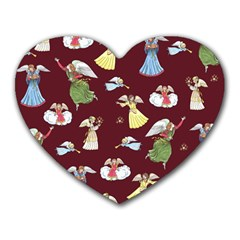 Christmas Angels  Heart Mousepads by Valentinaart
