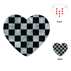 Square1 Black Marble & Ice Crystals Playing Cards (heart)  by trendistuff
