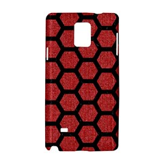 Hexagon2 Black Marble & Red Denim Samsung Galaxy Note 4 Hardshell Case by trendistuff