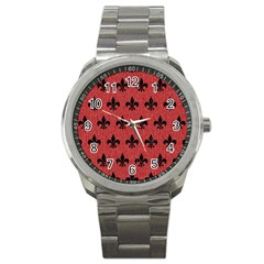 Royal1 Black Marble & Red Denim (r) Sport Metal Watch by trendistuff