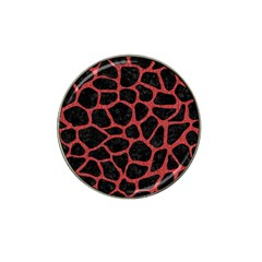 Skin1 Black Marble & Red Denim Hat Clip Ball Marker by trendistuff