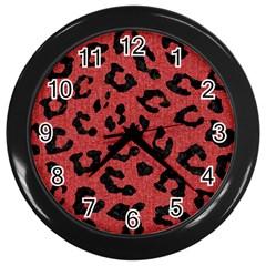 Skin5 Black Marble & Red Denim (r) Wall Clocks (black) by trendistuff