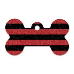 Stripes2 Black Marble & Red Denim Dog Tag Bone (two Sides) by trendistuff