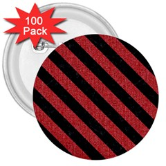 Stripes3 Black Marble & Red Denim 3  Buttons (100 Pack)  by trendistuff