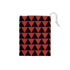 Triangle2 Black Marble & Red Denim Drawstring Pouches (small)  by trendistuff