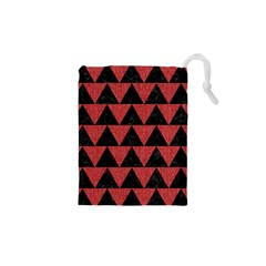 Triangle2 Black Marble & Red Denim Drawstring Pouches (xs)  by trendistuff
