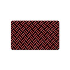 Woven2 Black Marble & Red Denim (r) Magnet (name Card) by trendistuff
