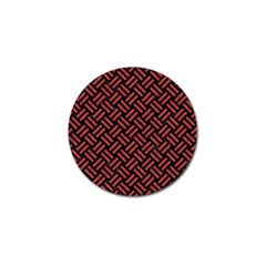 Woven2 Black Marble & Red Denim (r) Golf Ball Marker (10 Pack) by trendistuff