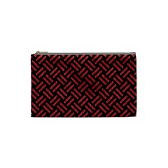Woven2 Black Marble & Red Denim (r) Cosmetic Bag (small)  by trendistuff