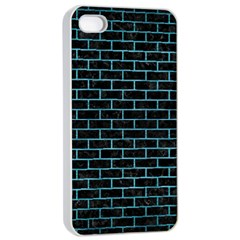 Brick1 Black Marble & Teal Brushed Metal (r) Apple Iphone 4/4s Seamless Case (white) by trendistuff