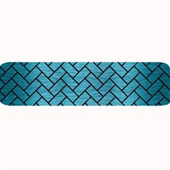 Brick2 Black Marble & Teal Brushed Metal Large Bar Mats by trendistuff
