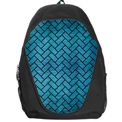 Brick2 Black Marble & Teal Brushed Metal Backpack Bag by trendistuff