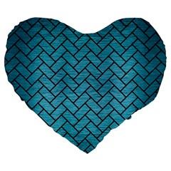 Brick2 Black Marble & Teal Brushed Metal Large 19  Premium Flano Heart Shape Cushions by trendistuff