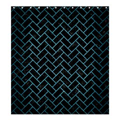 Brick2 Black Marble & Teal Brushed Metal (r) Shower Curtain 66  X 72  (large)  by trendistuff