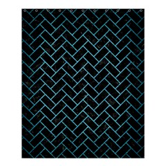 Brick2 Black Marble & Teal Brushed Metal (r) Shower Curtain 60  X 72  (medium)  by trendistuff