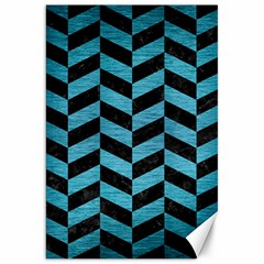 Chevron1 Black Marble & Teal Brushed Metal Canvas 20  X 30   by trendistuff