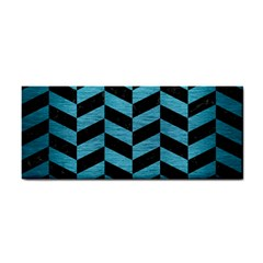 Chevron1 Black Marble & Teal Brushed Metal Cosmetic Storage Cases by trendistuff